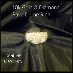 Jewelry - 10k Gold & Diamond Pave Dome Ring